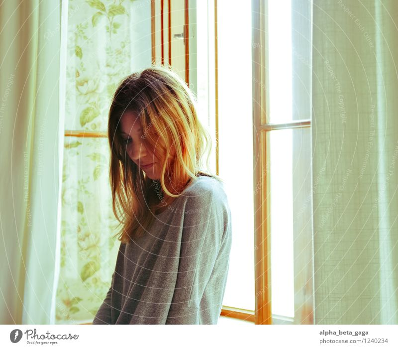 . Flat (apartment) Room Feminine Young woman Youth (Young adults) Woman Adults 18 - 30 years Summer Window Hope Idyll Think Colour photo Interior shot