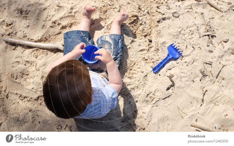 Human being Vacation & Travel Blue Summer Beach Playing Hair and hairstyles Family & Relations Brown Head Sand Contentment Body Infancy Happiness Trip