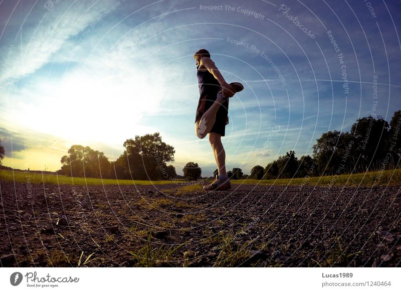 stretching Sports Fitness Sports Training Track and Field Sportsperson Jogging Distend Musculature Sporting Complex Human being Masculine Young man