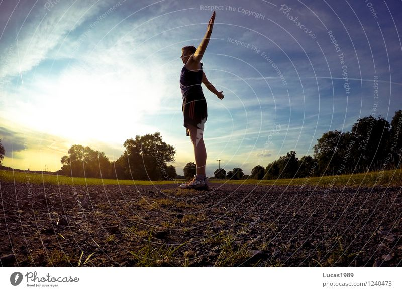Human being Sky Nature Youth (Young adults) Man Summer Young man 18 - 30 years Adults Environment Warmth Meadow Sports Park Masculine Arm