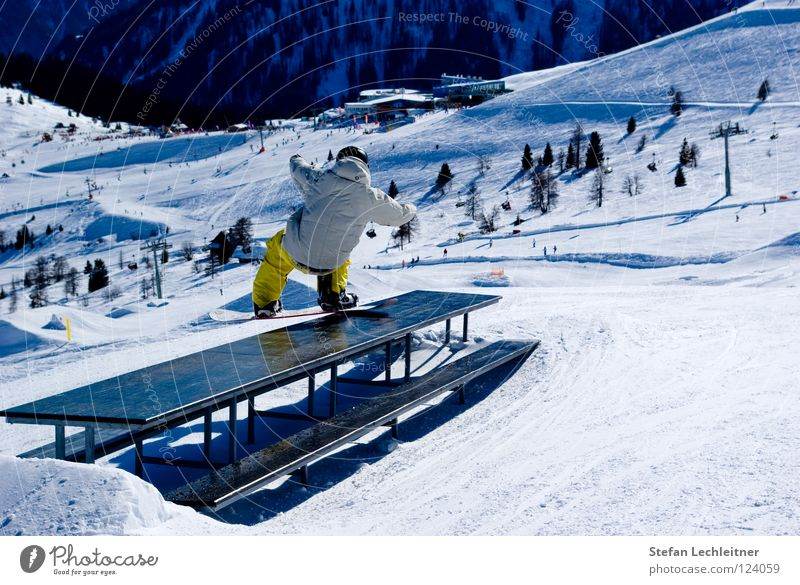 table slides Fiss Ladis Austria Winter Shows Freestyle Snowboard Leisure and hobbies Winter vacation Exterior shot Risk Reckless Federal State of Tyrol