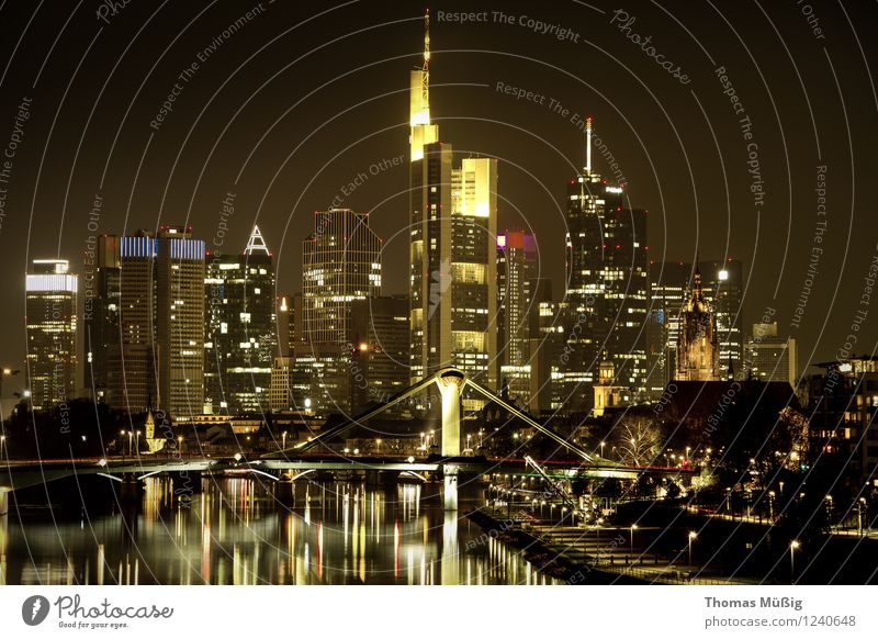 Frankfurt by night Town Downtown Skyline High-rise Vacation & Travel Perspective Banking district downtown frankfurt Financial District raft bridge