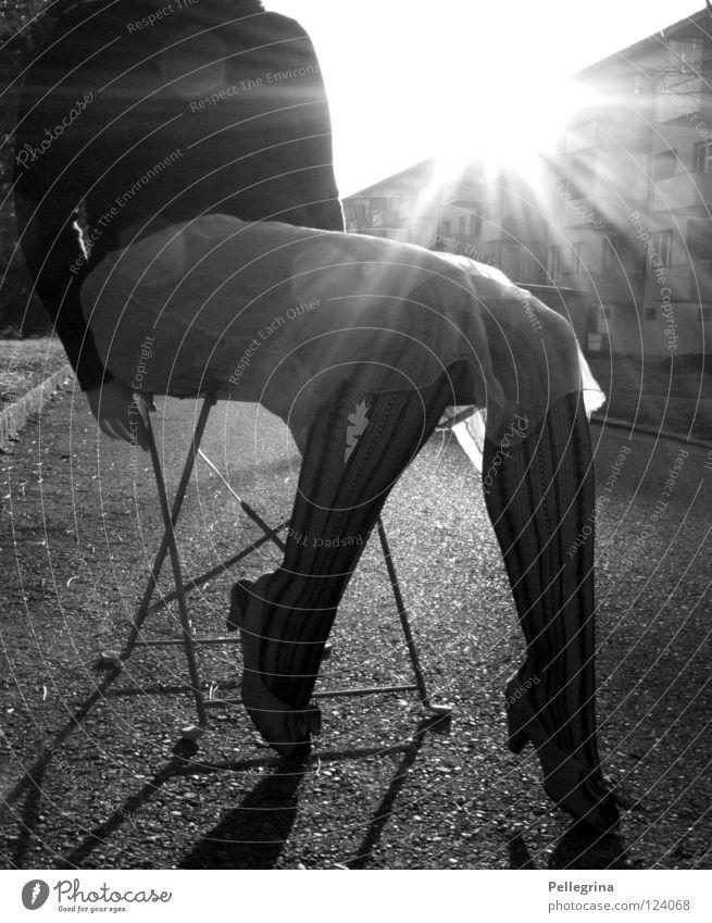 Sitting, Waiting, Wishing Woman Dress Stockings Sweater Block Light Footwear High heels Captured Hand Legs Street Black & white photo Sun Lighting Landing Net