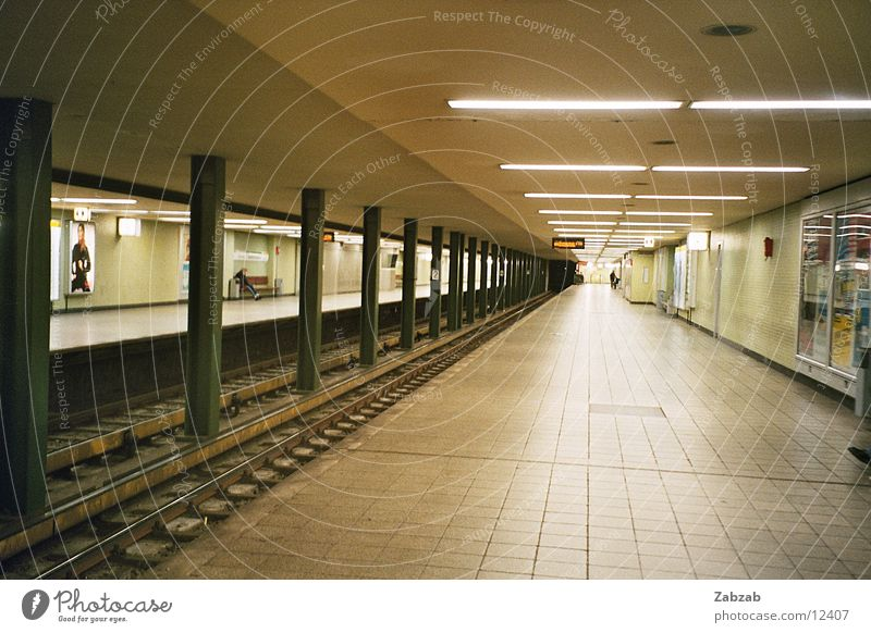 subway perspective Underground Light Subsoil Empty Night Public transit Means of transport Shaft Speed Tunnel Europe Lamp Commuter Deserted Interior shot
