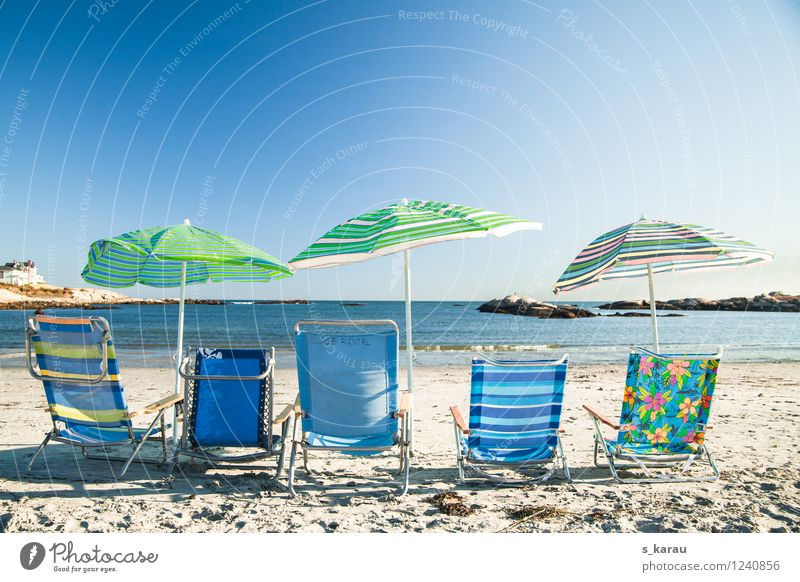 beach day Vacation & Travel Tourism Trip Summer Summer vacation Sun Beach Ocean Water Cloudless sky Warmth Relaxation To enjoy Sit Happiness Blue Green
