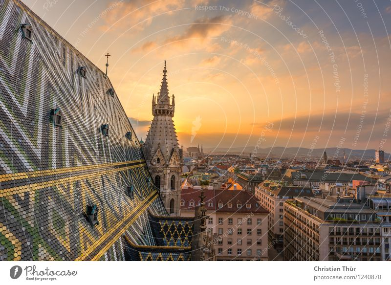 St Stephen's Cathedral in Vienna Vacation & Travel Sky Clouds Horizon Sun Sunrise Sunset Summer Beautiful weather Town Capital city Downtown Old town Populated