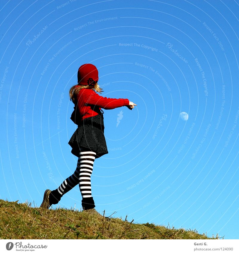 moon girl Heavenly Girl Multicoloured Sky blue Red Cardigan Baseball cap Cap Grass Green Meadow Hill Tights Striped Dress Spotted Chucks Blonde