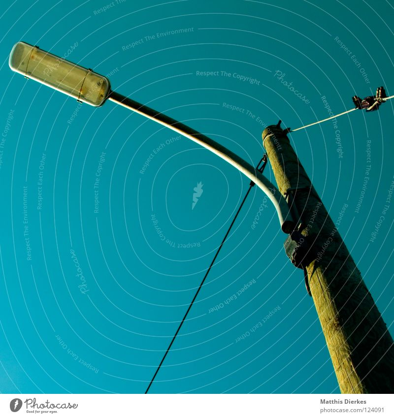 lantern Lantern Lamp Light Electricity Electricity pylon Column Wood Tree trunk Wire Steel Iron Green Background picture Yellow Shadow Worm's-eye view Global