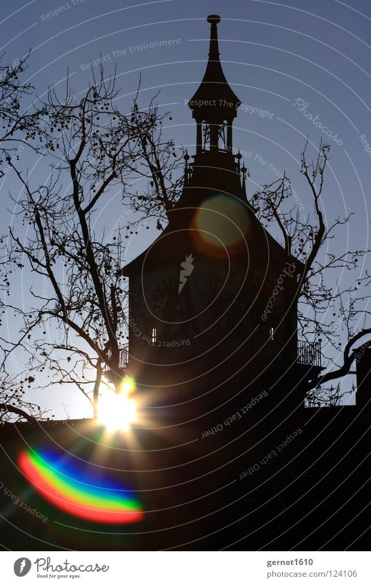 Good Morning Cannstatt II Historic Back-light Silhouette Winter Church spire Landmark Monument Stuttgart Bad Cannstatt Parish church Sun lens effect Lens Shadow