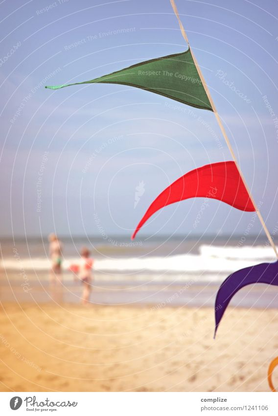 A summer day Children's game Vacation & Travel Tourism Summer Summer vacation Sun Sunbathing Beach Ocean Waves Idyll Retro Vintage Water wings Flag Summer's day