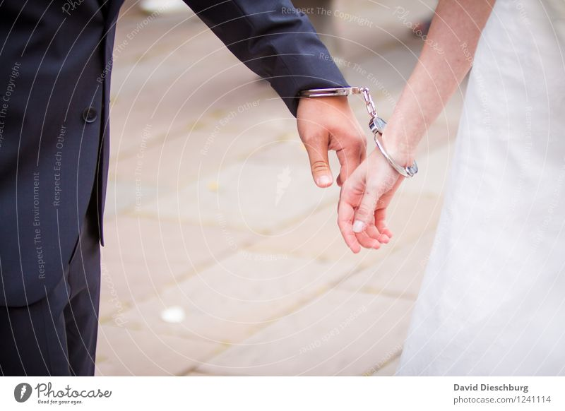 Found and connected Masculine Feminine Couple Partner Life 2 Human being Event Happy Happiness Contentment Together Love Infatuation Wedding Handcuff Dress Suit