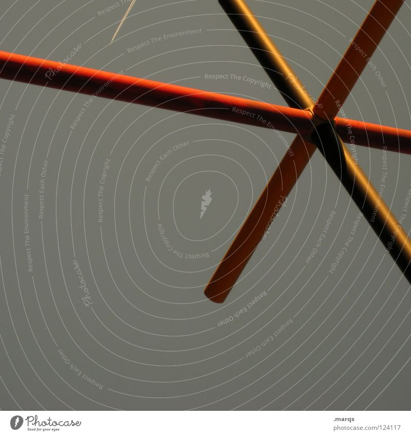 Red Yellow Gray Line Architecture Back Star (Symbol) Communicate Obscure Geometry Scaffold Minimal Cross Across Headstrong