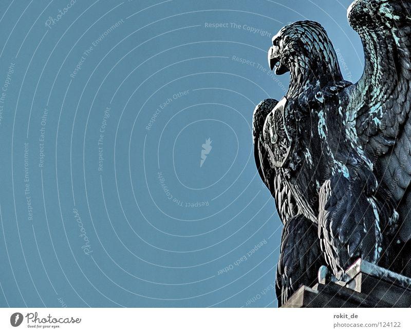 Vulture's wall Fat Watchfulness Rüdesheim Germania Rheingau Statue Trumpet War Brass band music Loud Tin Bronze Bust Sculpture Monument God of war Cup (trophy)