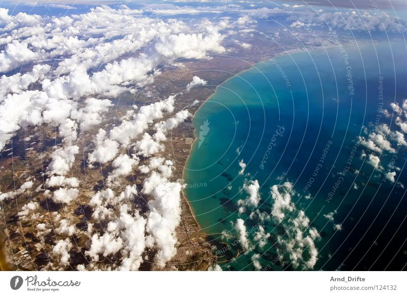 Coast of Sicily II Bird's-eye view Aerial photograph Clouds Ocean Vantage point Air Horizon Beautiful Long Far-off places Italy Beach Water Blue Flying