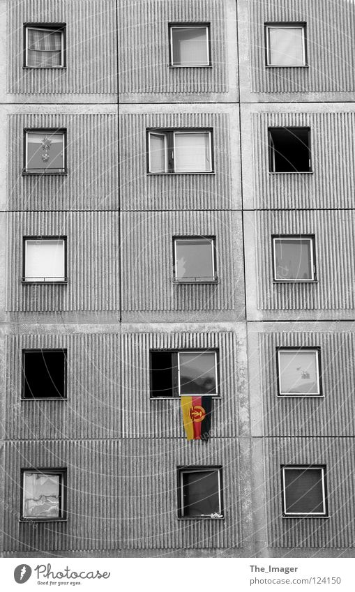Berlin Window Gray Germany Flat (apartment) Gloomy Flag Living or residing Transience Past German Flag Division Historic GDR Nostalgia East