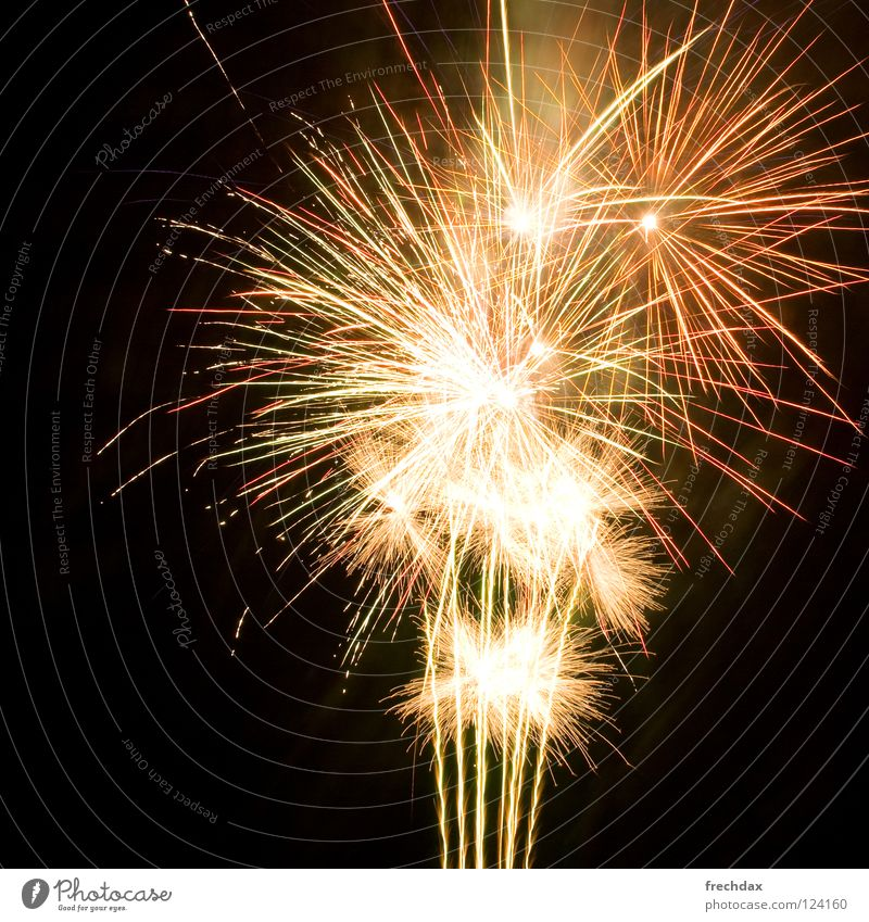 ooooh, aaaah Dark Night New Year's Eve Glittering Tracer path Firecracker Light show Environmental pollution Carbon dioxide Black Long exposure Ignite Bang Fog