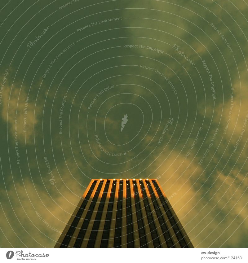 H I G H T T O W E R Architecture High-rise facade Vertical Upward Skyward Worm's-eye view Central perspective Isolated Image Bright background Green undertone