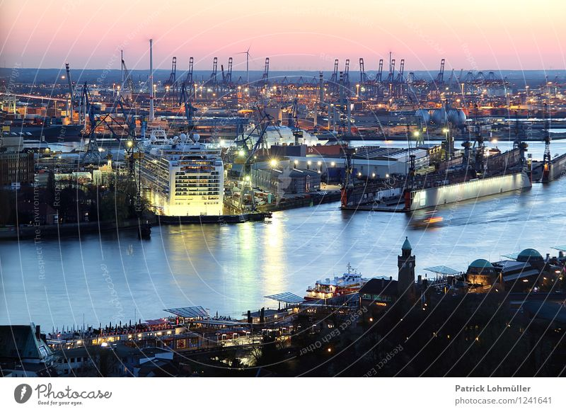Port of Hamburg Workplace Industry Trade Logistics Architecture Environment Water Cloudless sky Horizon Sunlight Beautiful weather River bank Elbe Germany