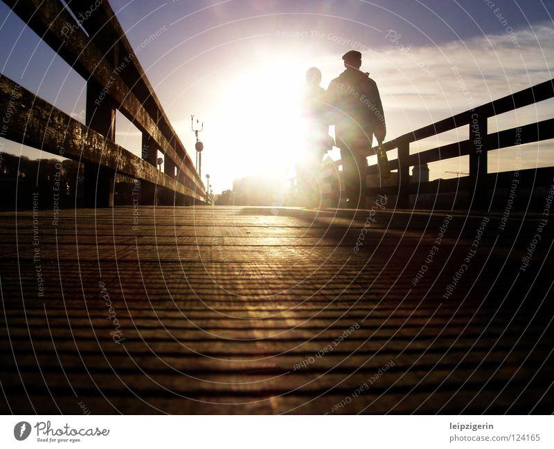 Human being Beautiful Sky Sun Ocean Senior citizen Life Emotions Wood Couple Moody Bridge To go for a walk Footbridge Retirement Baltic Sea