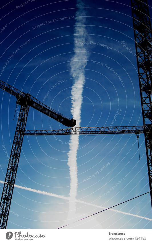 Sky White Blue Line Construction site Stripe Build Geometry Crane Haircut Cross Vapor trail Axle
