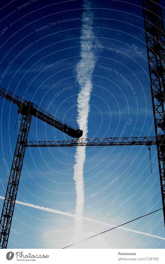 Sky White Blue Line Construction site Stripe Build Geometry Crane Haircut Cross Vapor trail Axle