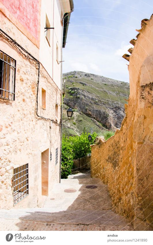 Cuenca Nature Landscape Sky Beautiful weather Tree Bushes Hill Rock Spain Village Small Town Old town Deserted House (Residential Structure) Wall (barrier)