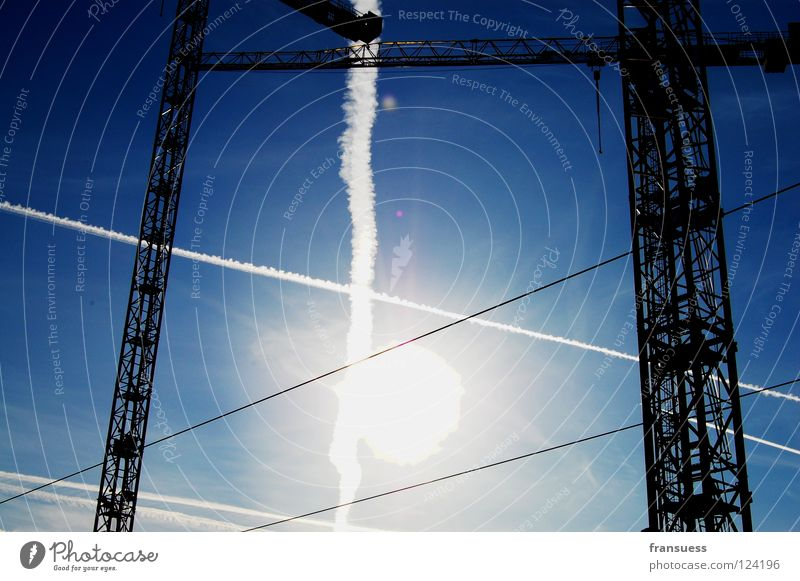 crossings Crane Light Vapor trail Stripe Geometry White Construction site Cross Sunlight Dazzle Sky Blue Line Haircut Axle Build