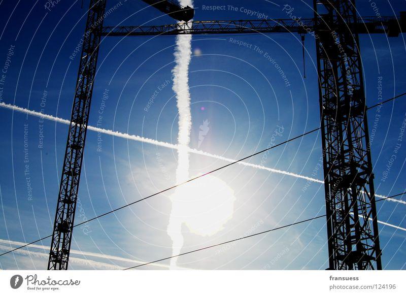 Sky White Sun Blue Line Construction site Stripe Build Geometry Crane Dazzle Haircut Cross Vapor trail Axle