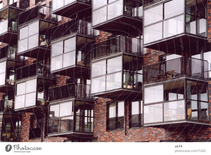 Red Architecture Brick Balcony Europe Rotterdam