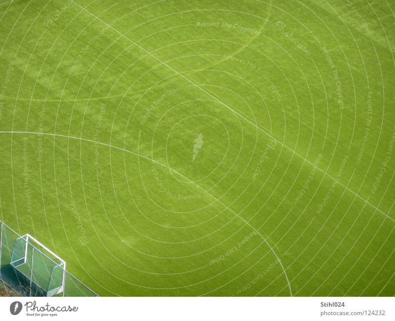 place there! Sporting grounds Football pitch Places Meadow Grass Soccer Goal Center line Penalty kick Penalty area Break Green Groomed Bird's-eye view Fence