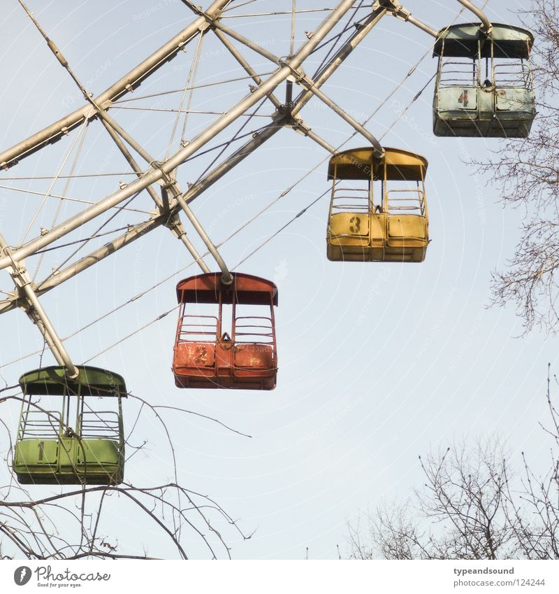 Gorky Four Ferris wheel Moscow 4 Fairs & Carnivals Amusement Park Old Archaic Landmark Shut down Leisure and hobbies Nostalgia Winter gorky park Russia Colour
