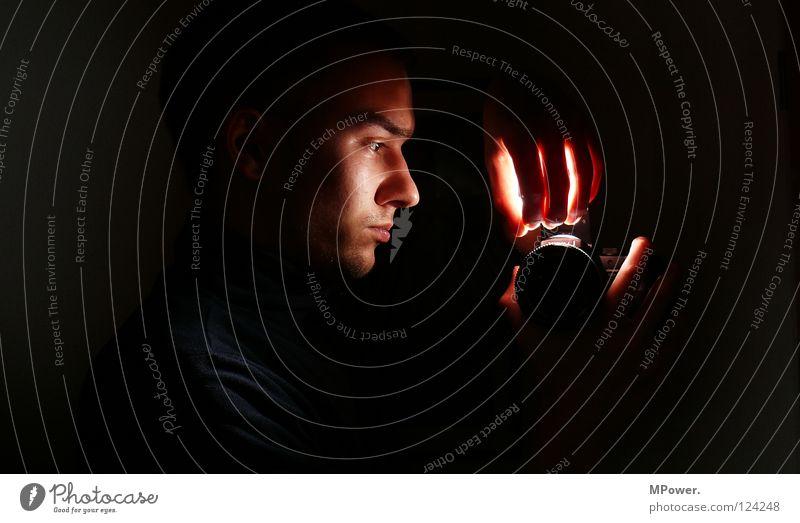 Hand Face Black Lamp Dark Head Mirror Obscure Illuminate Mirror image Photo laboratory Rocket flare