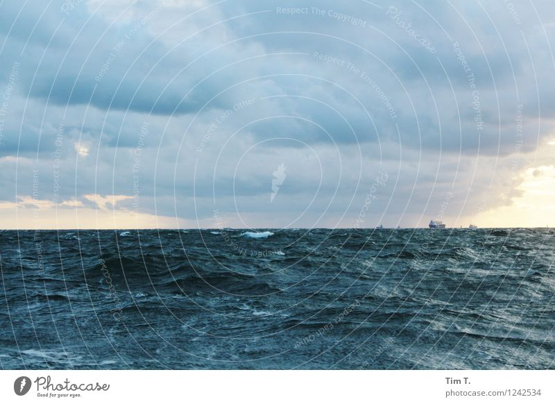 The sea Environment Nature Landscape Water Sky Clouds Storm clouds Baltic Sea Ocean Traffic infrastructure Logistics Navigation Steamer Container ship