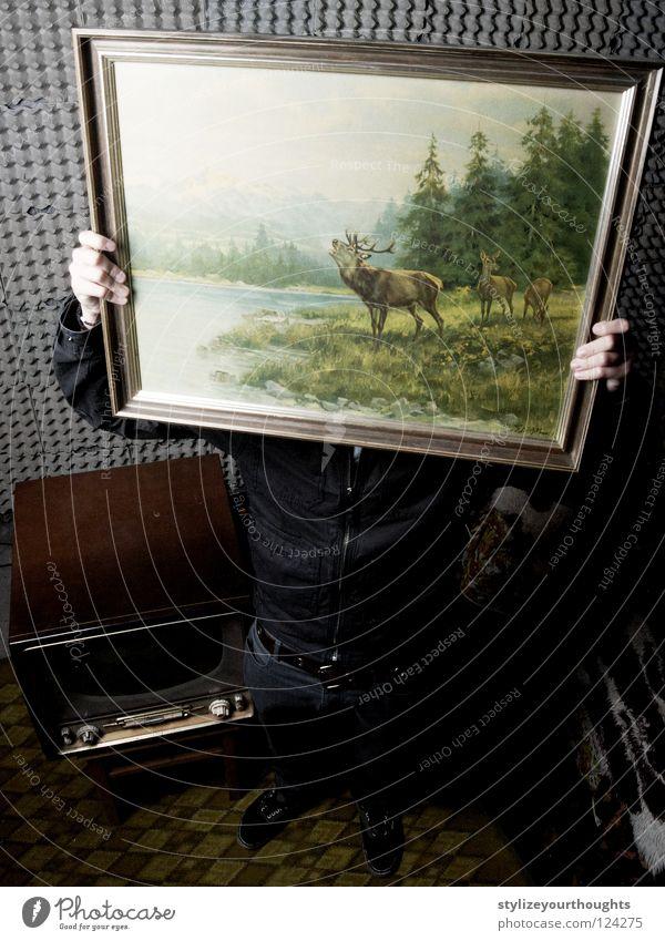 Hand Old Green TV set Decoration Image To hold on Hide Frame Deer Culture Eggs cardboard