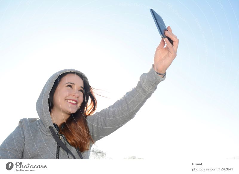 Human being Woman Youth (Young adults) Young woman Joy 18 - 30 years Adults Feminine Happy Laughter Gray Lifestyle Happiness Cool (slang) Cellphone Blue sky