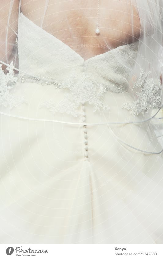 Wedding Dress Feminine Woman Adults Body 1 Human being 18 - 30 years Youth (Young adults) Clothing White Happy Anticipation Wedding dress Bride Bridal veil
