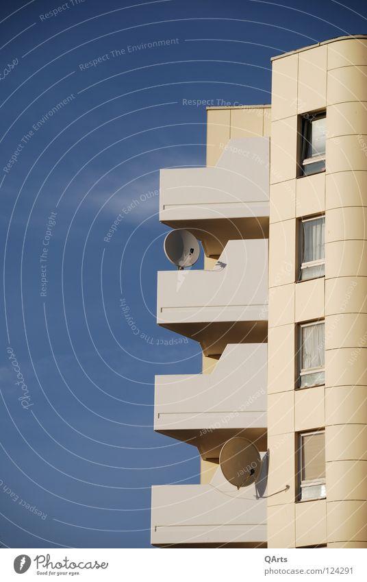 Sky Blue House (Residential Structure) Cold Berlin Window Flat (apartment) Modern Balcony Bowl Entertainment Prefab construction Exclusion Kreuzberg Satellite