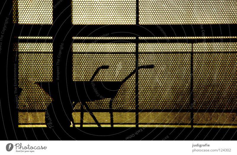 moonlighting Wheelbarrow Break Strike Stagnating Work and employment Construction site Fence Barrier Driving Silhouette Dark Black Back-light Grid Craft (trade)