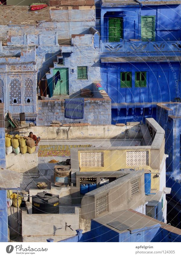 Jodhpur - Rajasthan, India Jodphur Asia Multicoloured Asians Indian Uniqueness Harmonious Exterior shot Peace Detail blue city intense colour Lamp Contrast