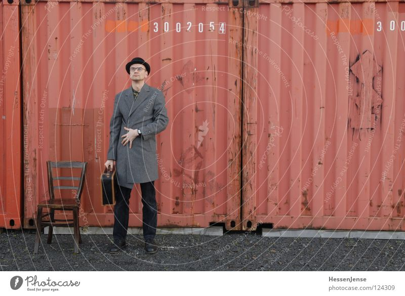 Red Loneliness Time Characters Wait Industry Hope Chair Hat Suitcase Freeze God Coat Divide Train station Container