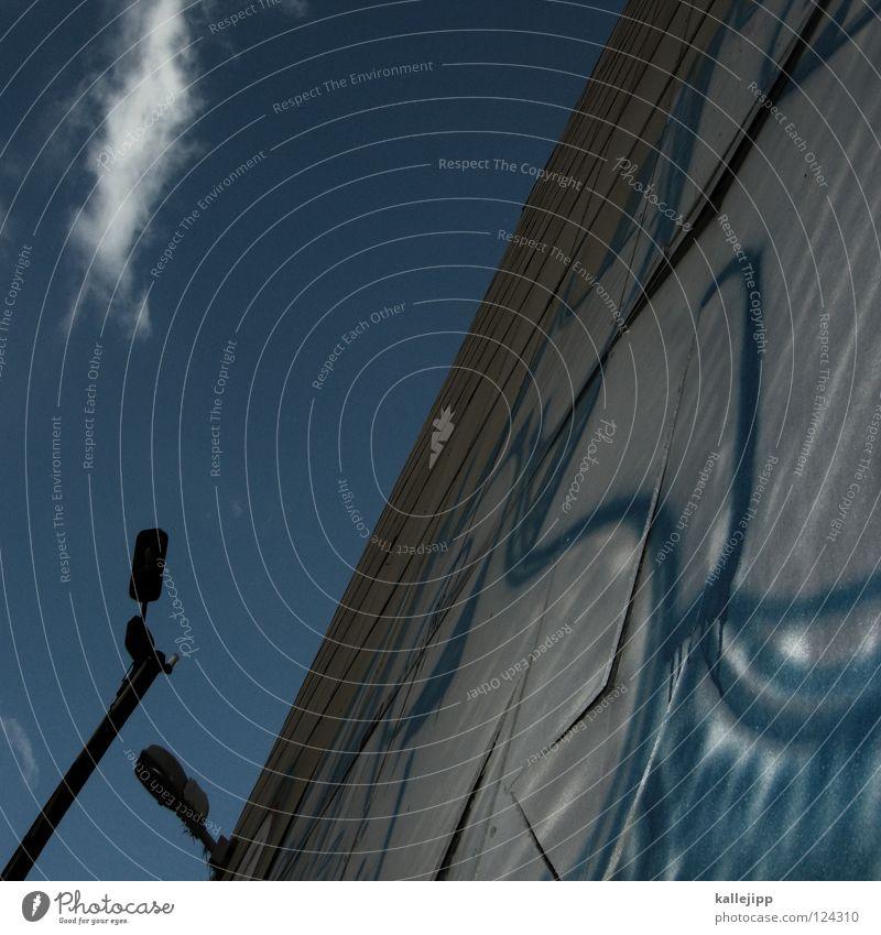 """ Wall (building) House (Residential Structure) Lamp Lantern Punctuation mark Air Street art Architecture Graffiti Latin alphabet Blue Sky Town kallejipp"