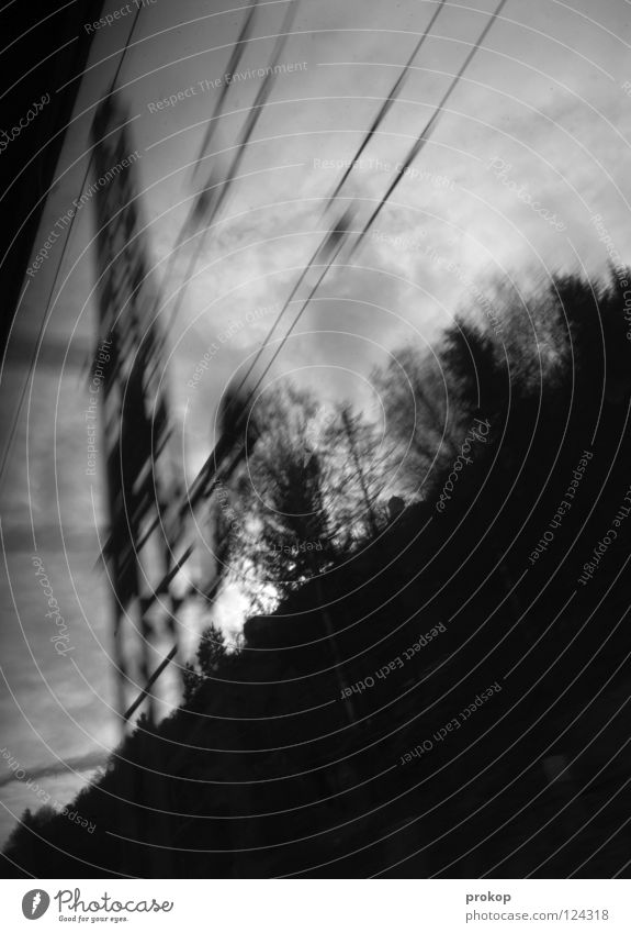 Ceske dráhy Speed Dark Threat Dangerous Rip Tree Clouds Steel Railroad Engines Train compartment Black & white photo Transport Haste Shock Transmission lines