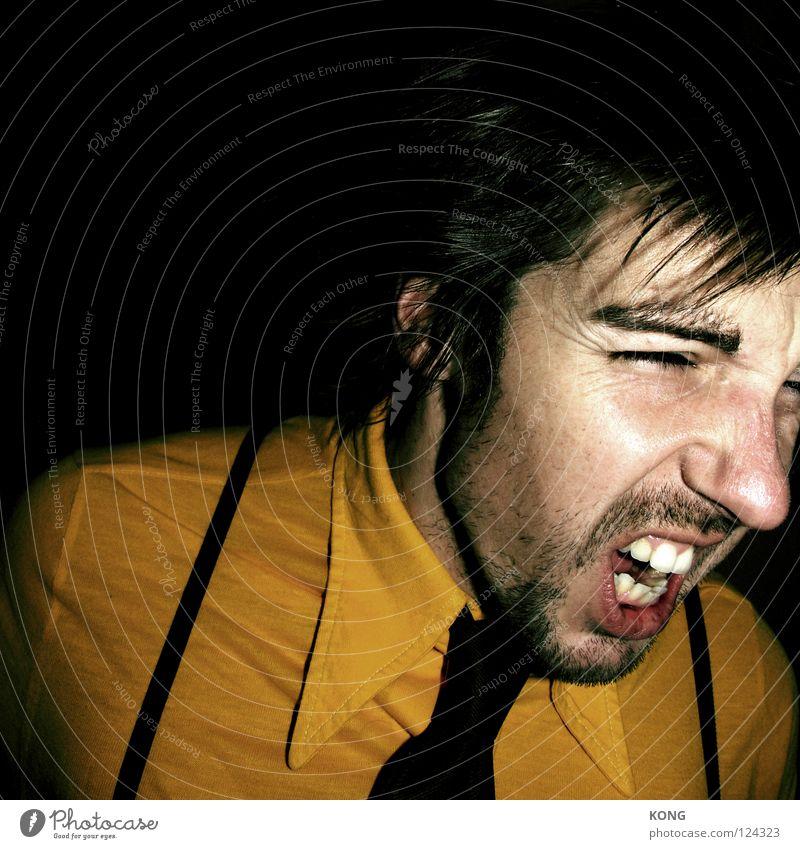 Man Face Yellow Anger Scream Shirt Alcoholic drinks Aggravation Chic Tie Loud Flashy