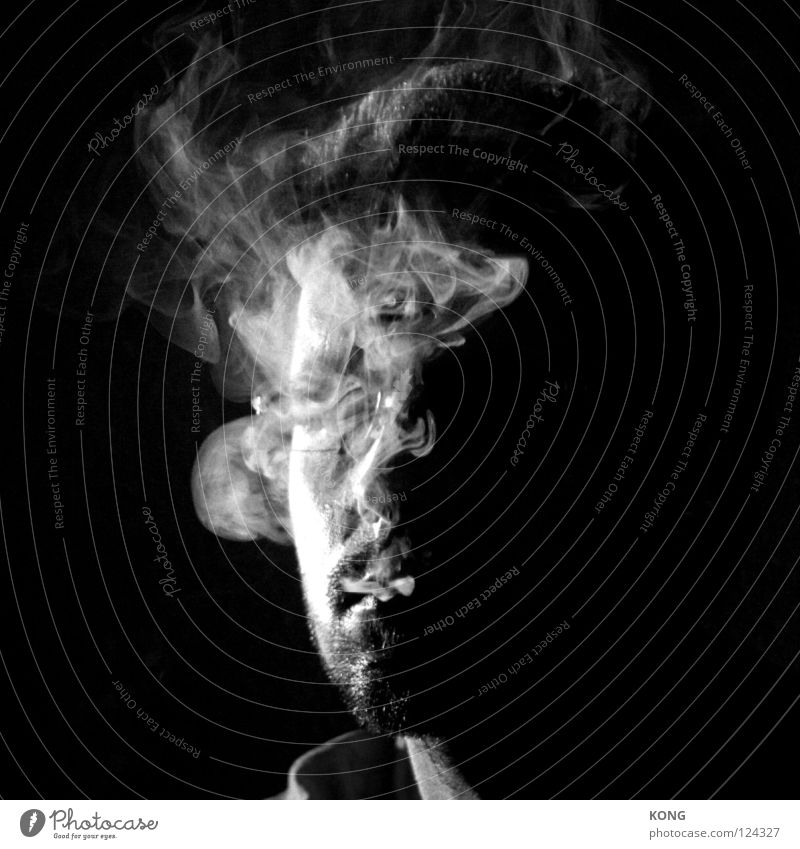 smokin' Portrait photograph Close-up Man Cigarette Smoke Mysterious Black & white photo Transience Face Smoking Hide Invisible self-censorship