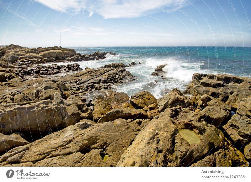 Sky Nature Blue Summer Water White Ocean Landscape Clouds Environment Coast Stone Brown Rock Horizon Weather