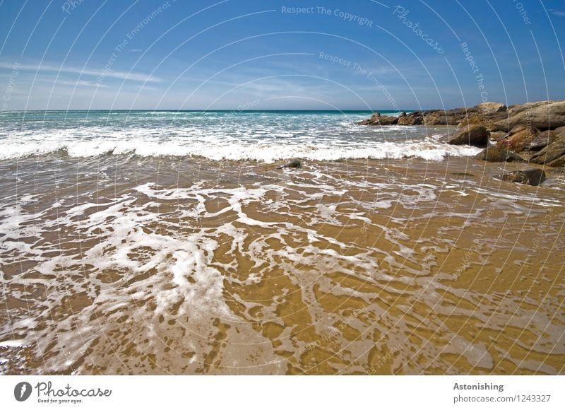 water pattern Environment Nature Landscape Sand Water Sky Clouds Horizon Summer Weather Beautiful weather Rock Waves Coast Ocean Atlantic Ocean Morocco Stone
