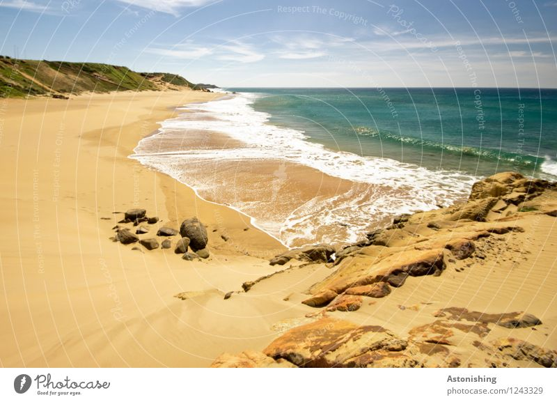 deserted beach Environment Nature Landscape Plant Sand Air Water Sky Clouds Horizon Summer Weather Beautiful weather Hill Rock Waves Coast Ocean Atlantic Ocean