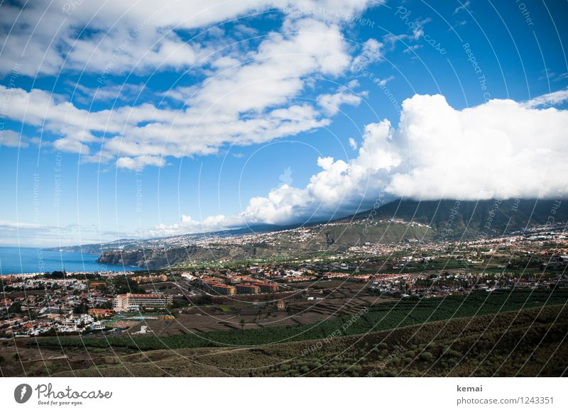 Tenerife Sea Vacation & Travel Tourism Summer Summer vacation Mountain Environment Nature Landscape Sky Clouds Beautiful weather Field Hill Rock Ocean
