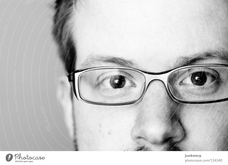 Close to nowhere... Portrait photograph Close-up Black White Eyeglasses Eyebrow High-key Forehead Man Black & white photo Macro (Extreme close-up) Stefan Wagner