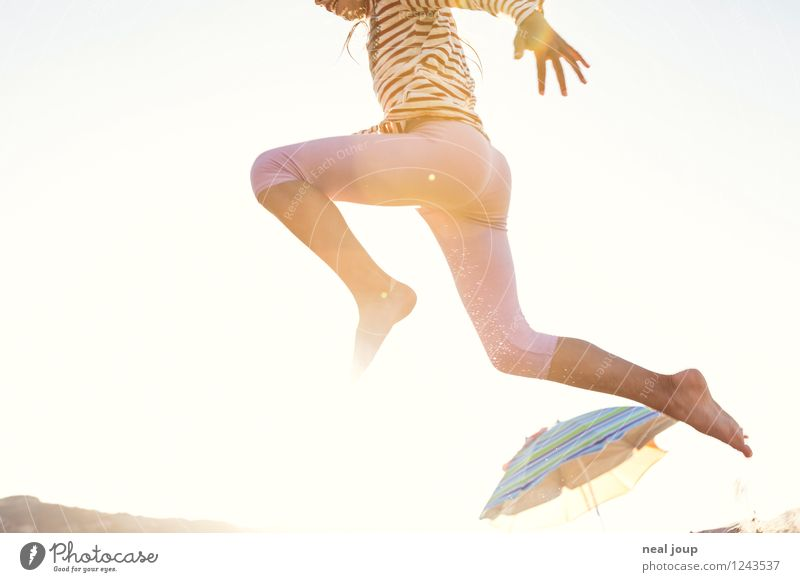 Jump for Joy -I- Girl 3 - 8 years Child Infancy Summer Beautiful weather Beach Portugal Movement Flying Romp Happiness Happy Joie de vivre (Vitality)